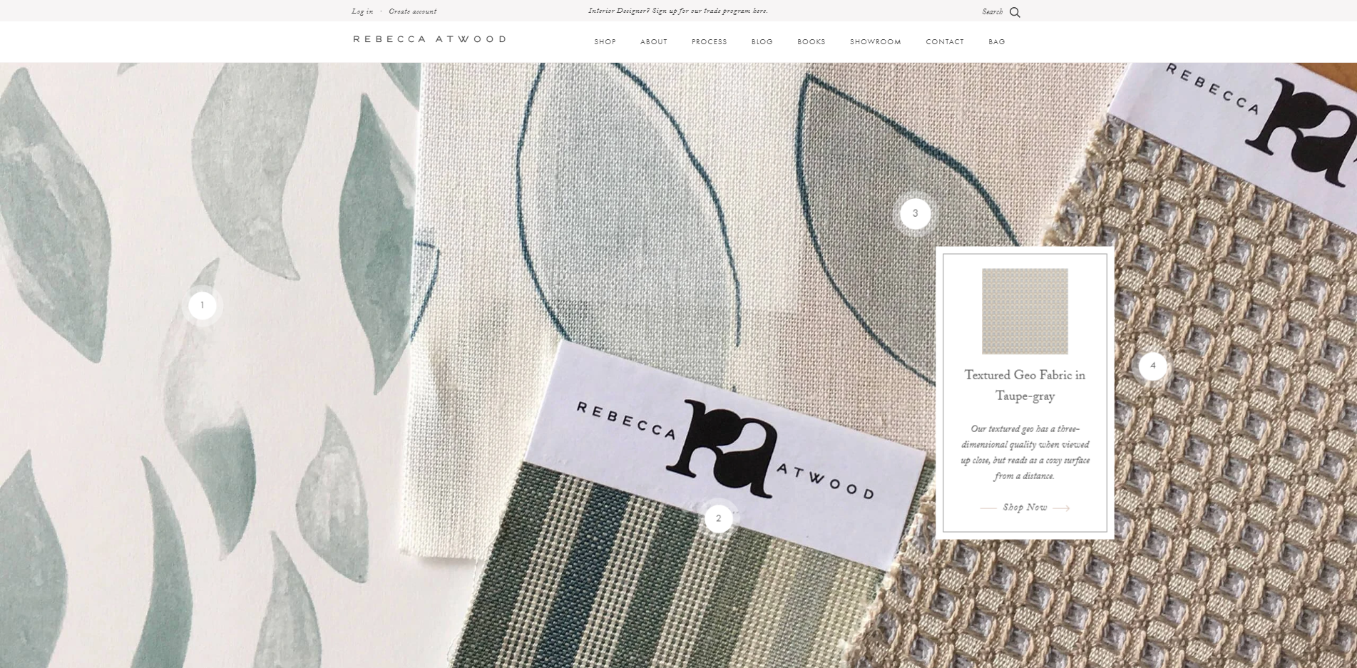 Rebecca Atwood Designs where customers can buy from the homepage