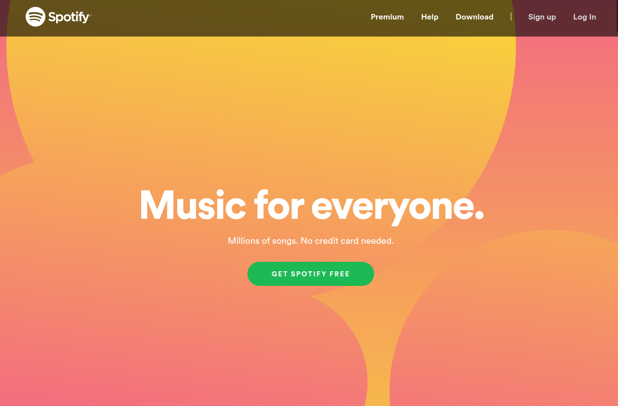 Spotify website with warm and cheerful colors