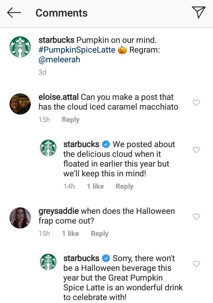 Starbucks Instagram comments