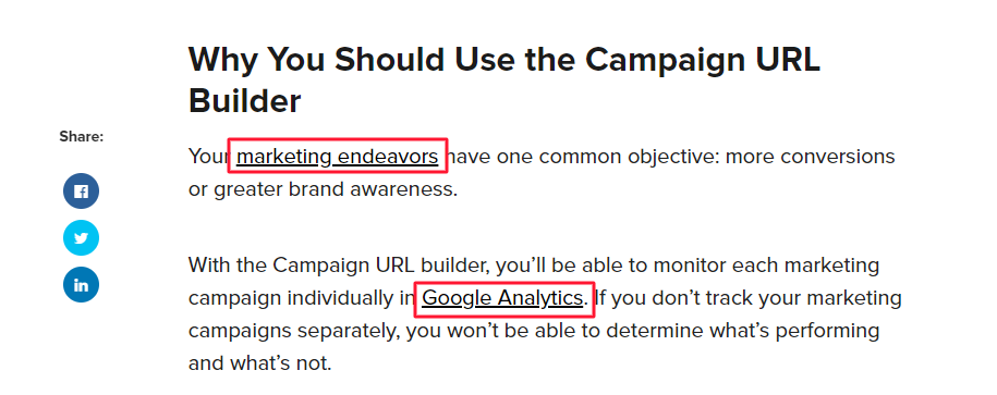 an example of anchor text for internal links