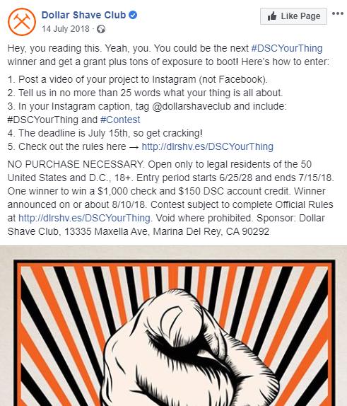 dollar shave club contest