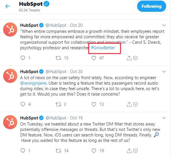 hubspot hashtags usage