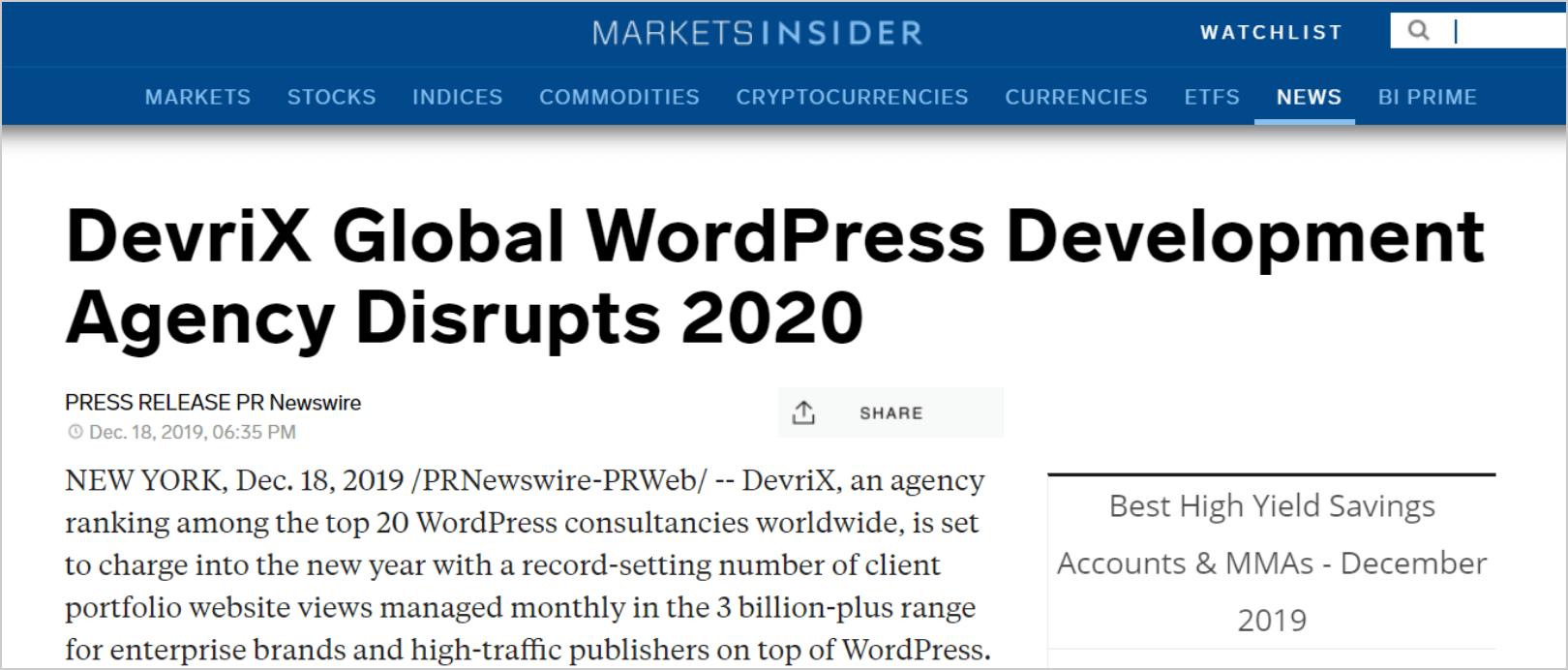 DevriX Global WordPress Development Agency Disrupts 2020