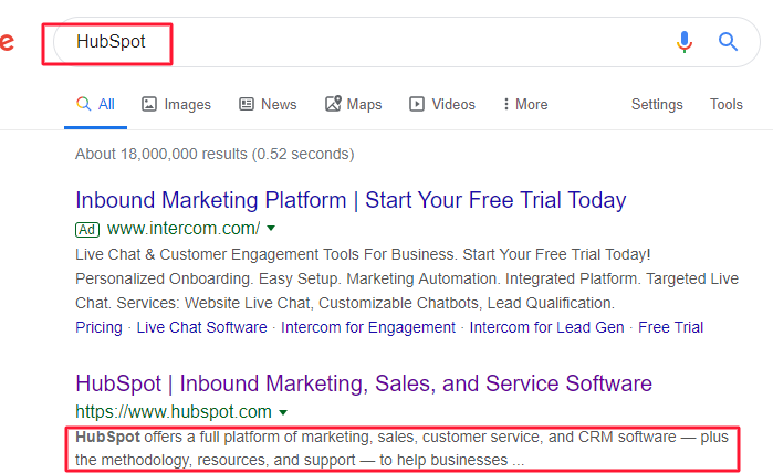 sponsored vs organic meta description