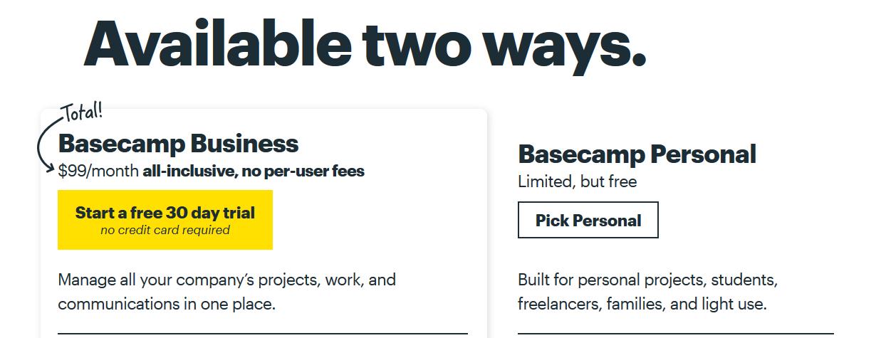 Basecamp 3 pricing