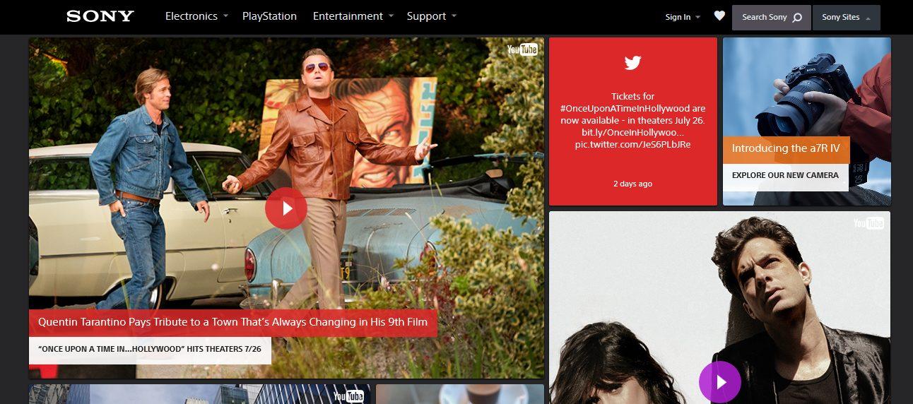 Sony USA website