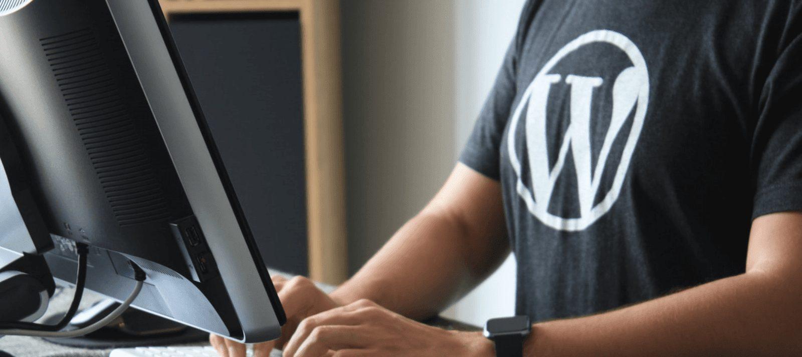 guy wearing shirt with WordPress logo