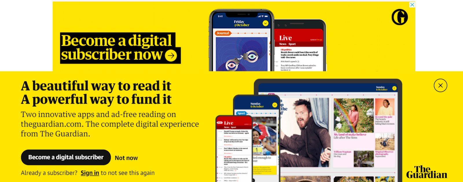 the guardian become a subscriber