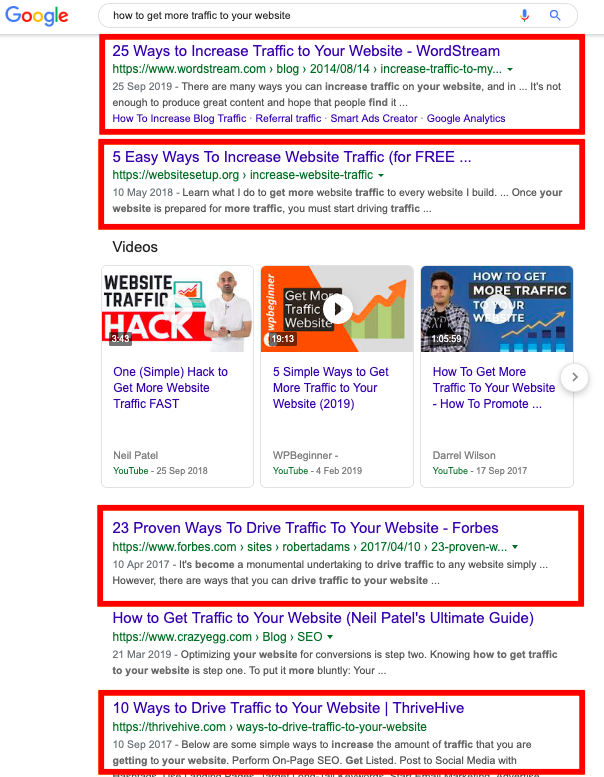 how to get more traffic search result