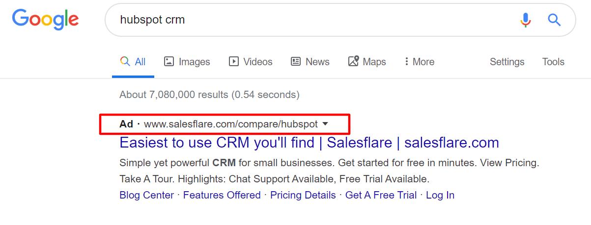 hubspot competitive keyword bidding
