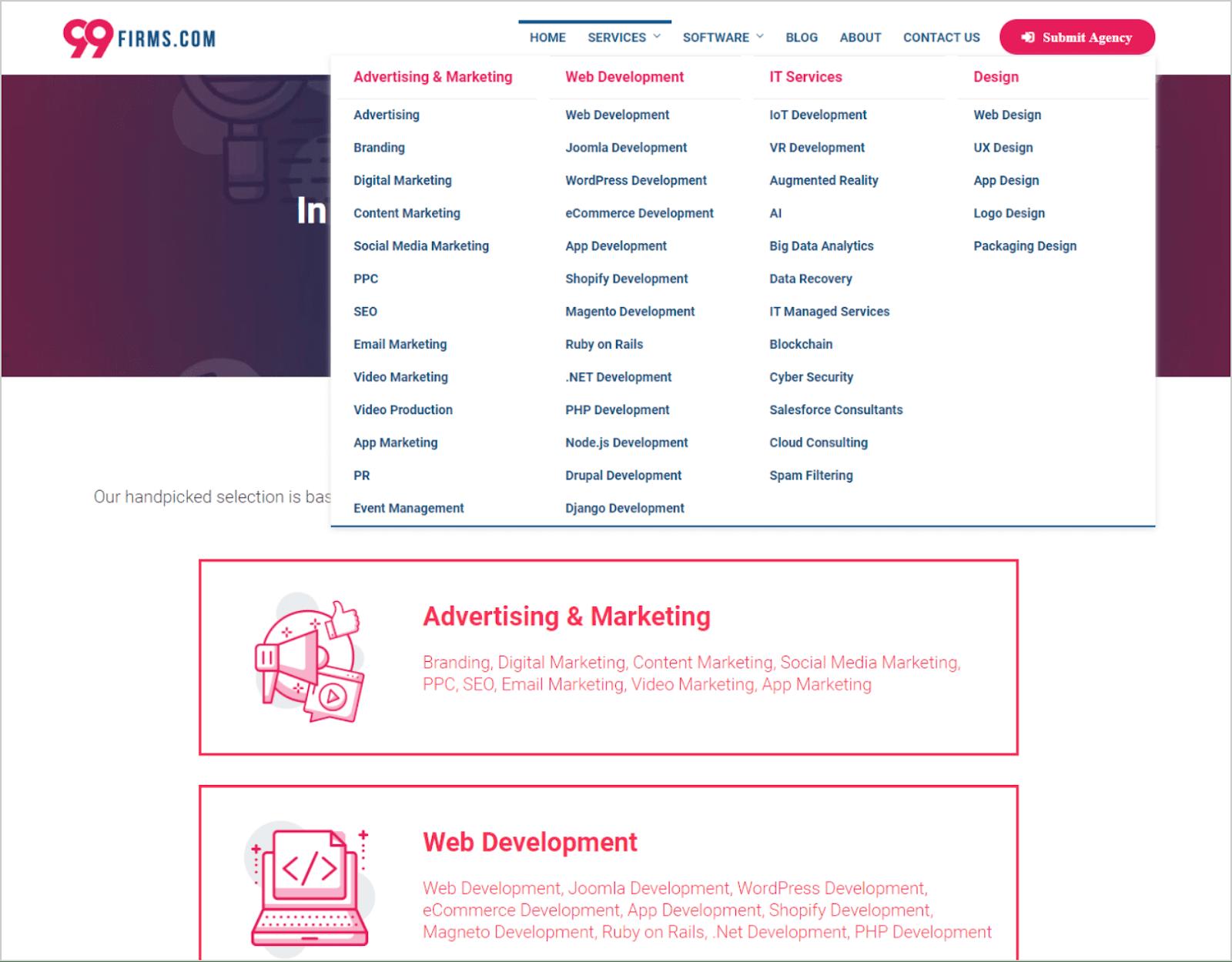 99Firms: Service categories