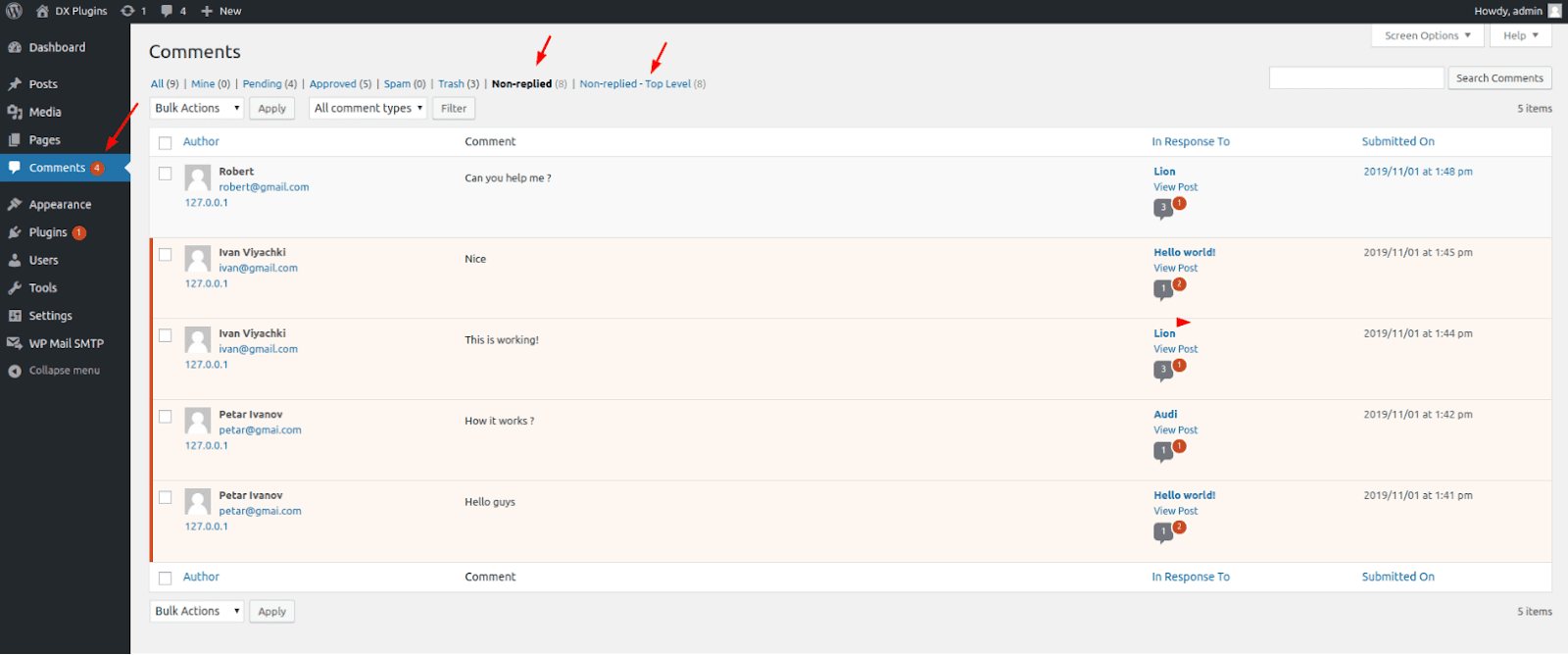 DX Unanswered Comments Plugin adds options to the comments backend screen