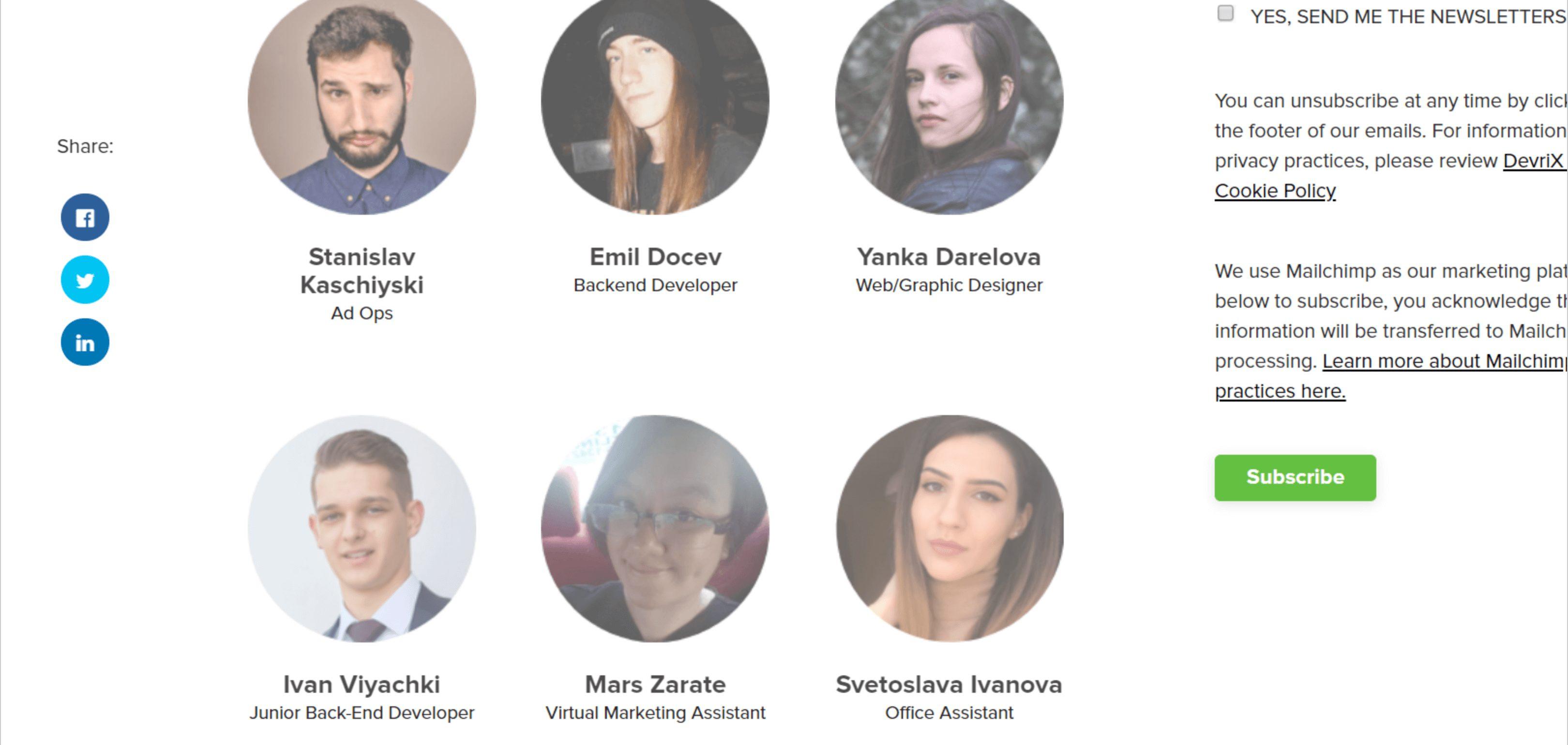 DevriX Our Team Page