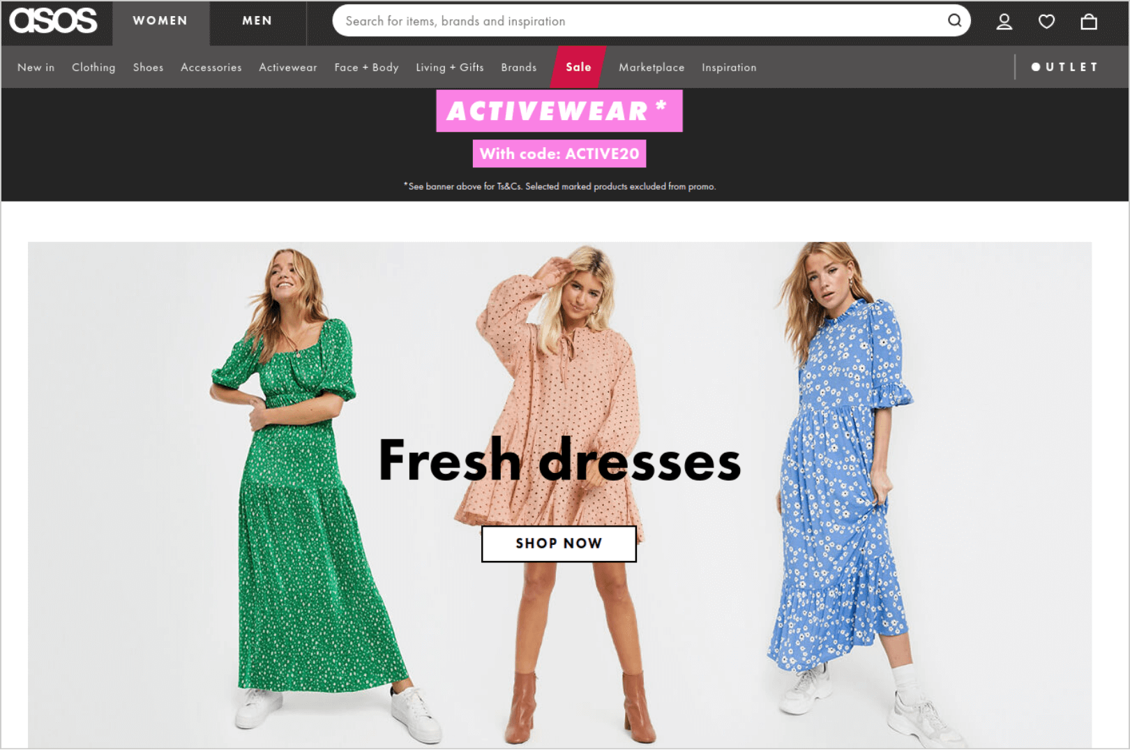 ASOS Personalize Pages by Category or Previous Searches