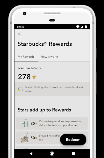 Starbucks Rewards app screen