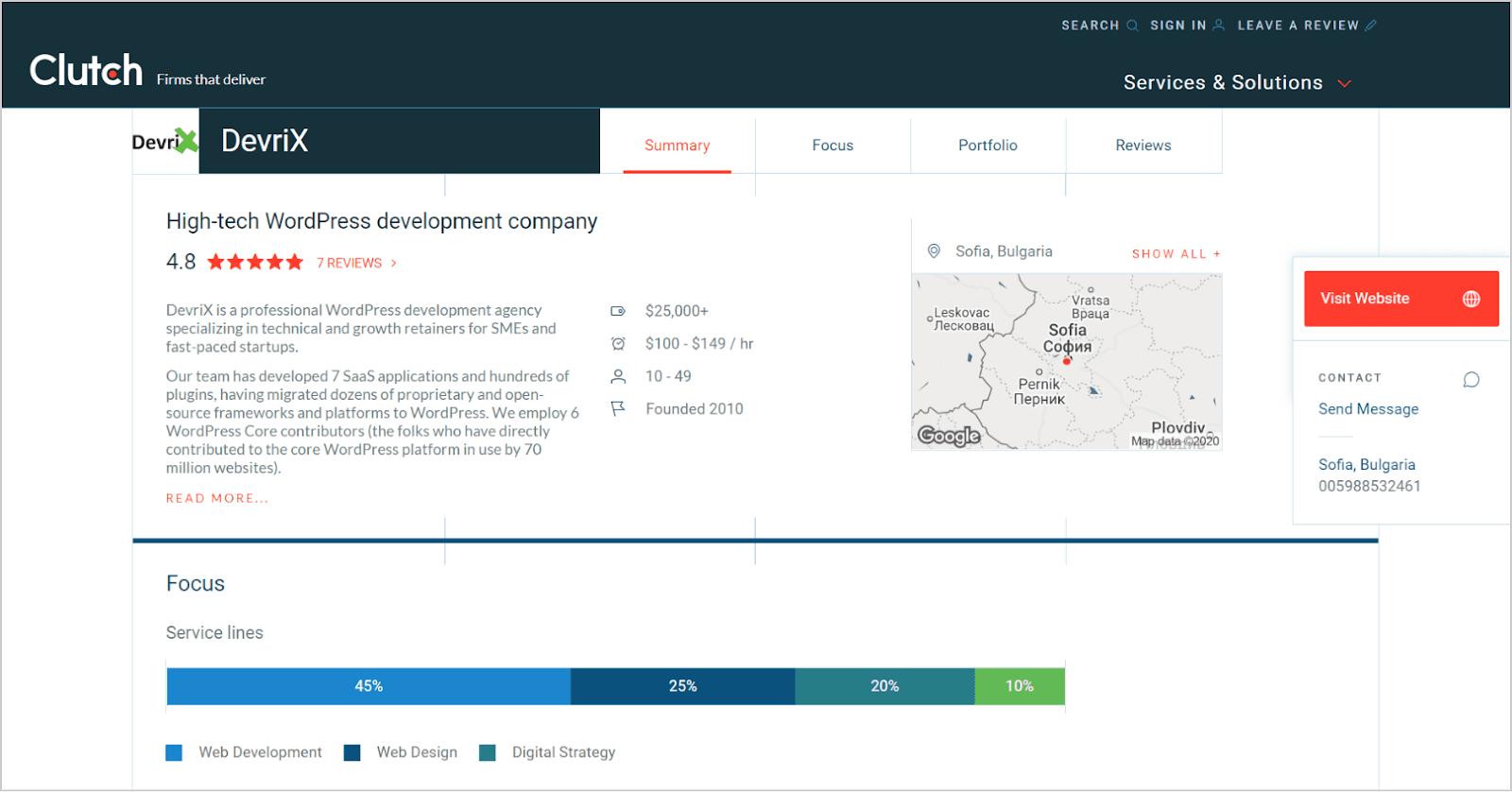 DevriX profile on the Clutch