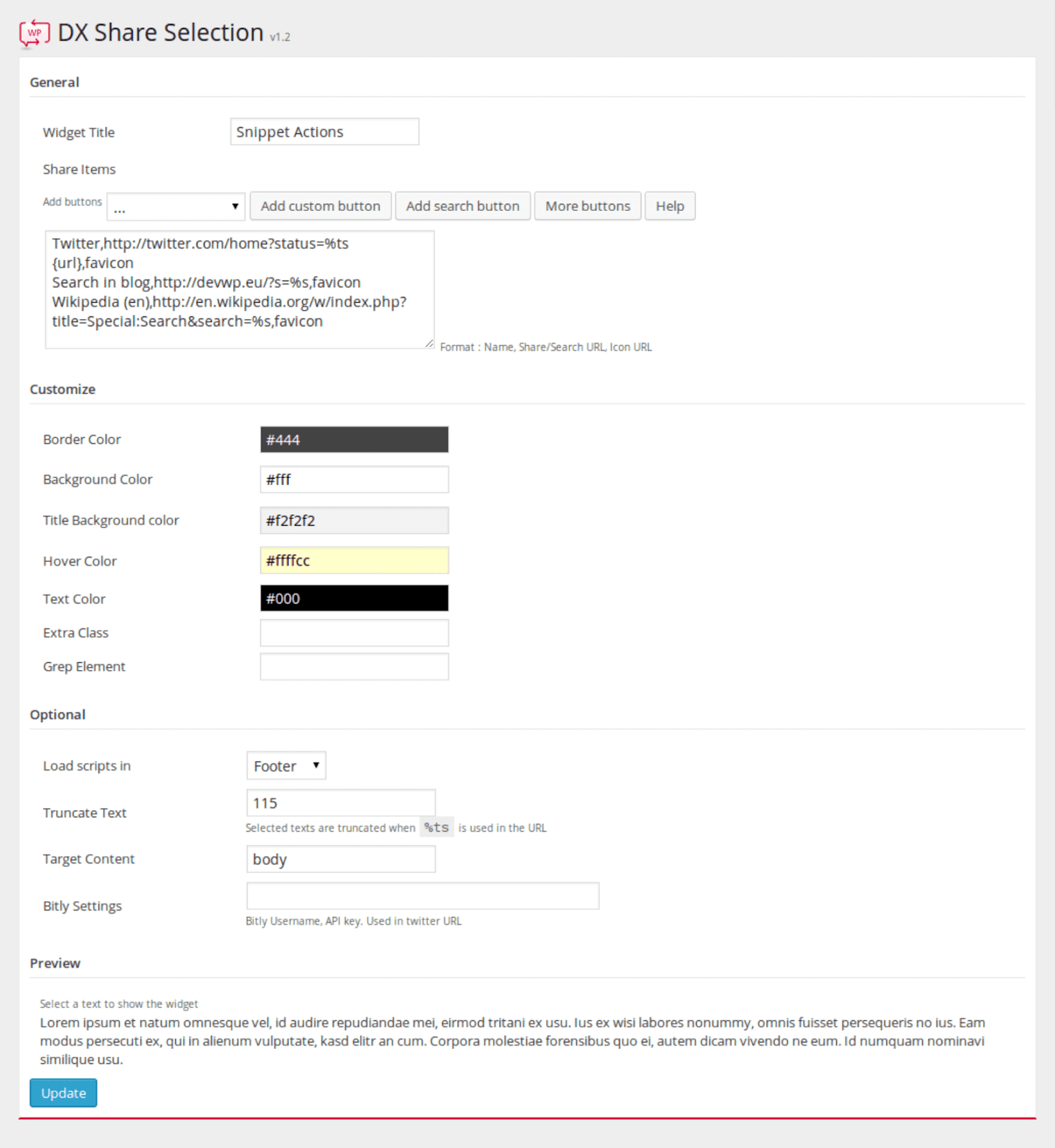 DX Share Selection plugin settings
