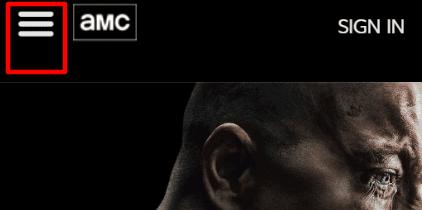 AMC website Screenshot with Hamburger Menu