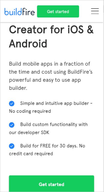 Simple BuildFire Website Screenshot