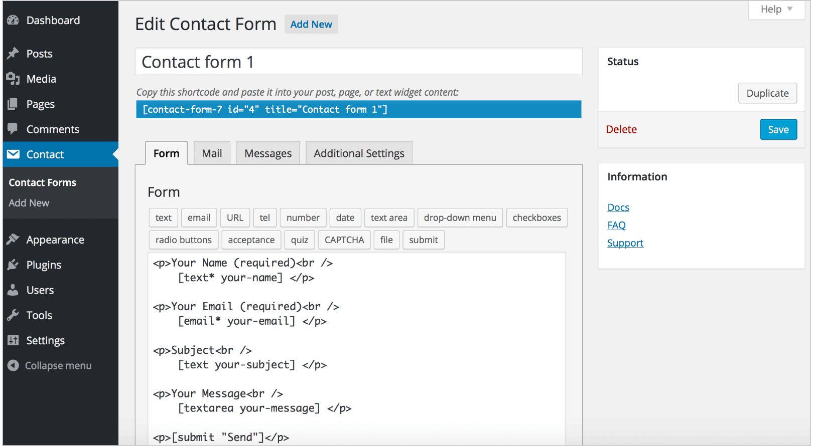 Contact Form 7 form optimization process