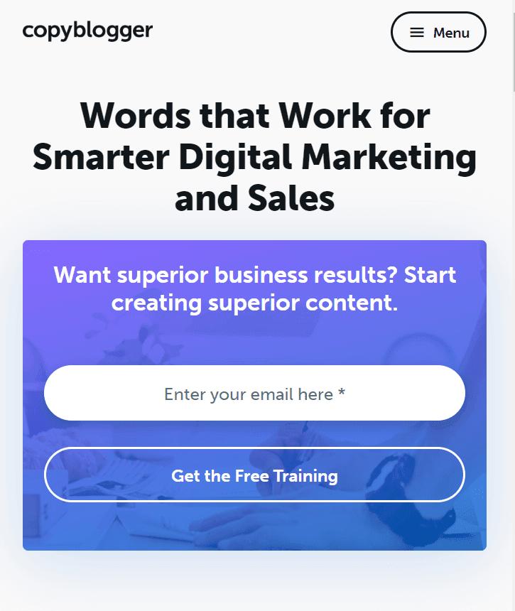 Copyblogger form screenshot