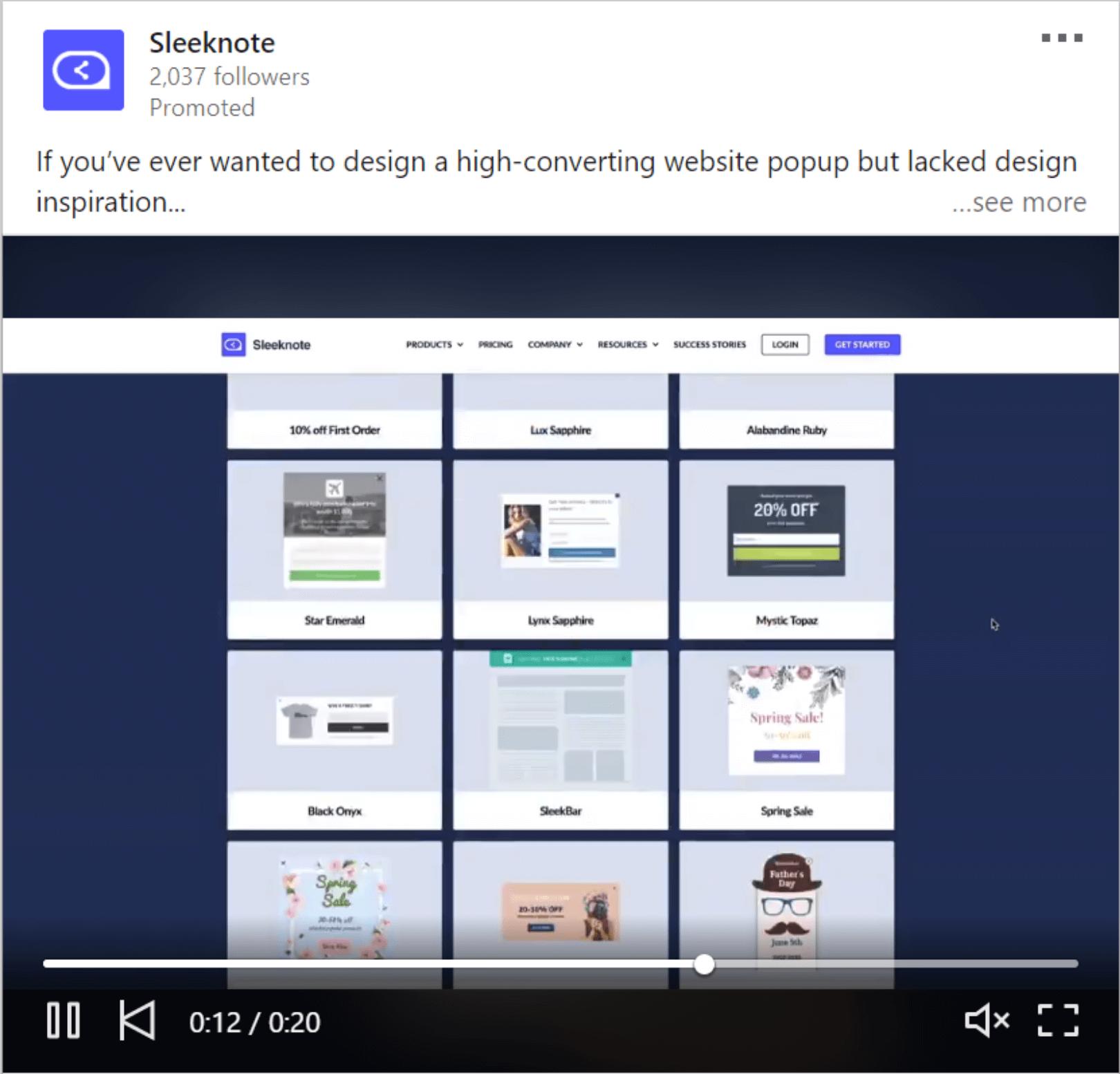 Sleeknote Video Advertisement