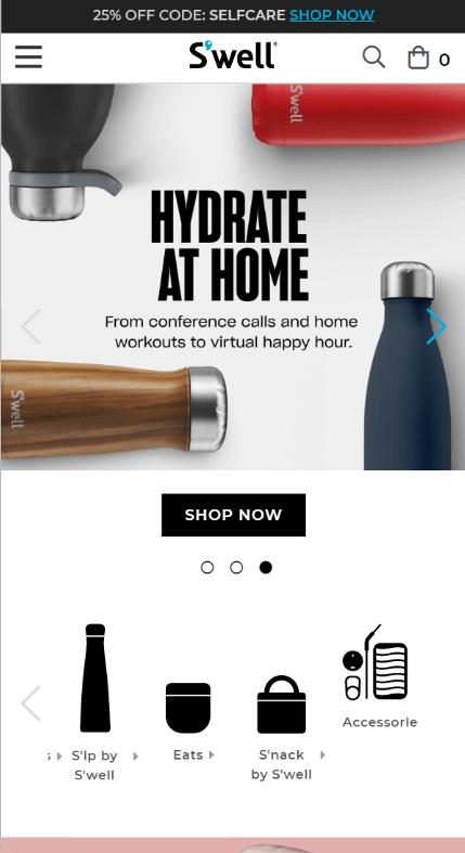 Swell bottle Mobile Screenshot