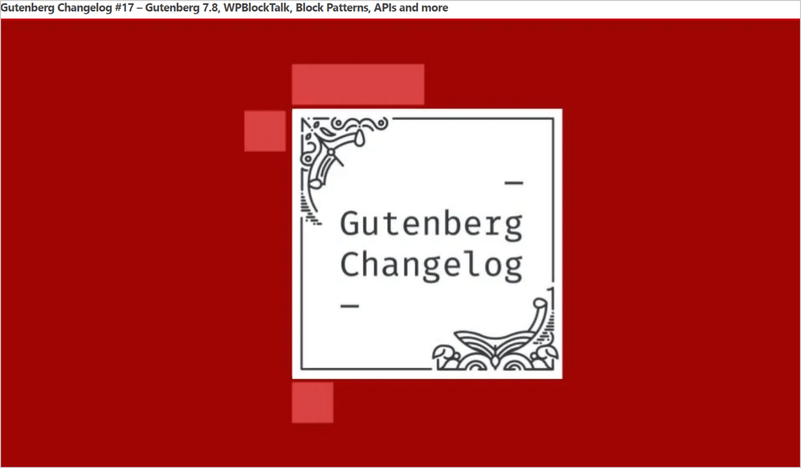 Gutenberg Changelog
