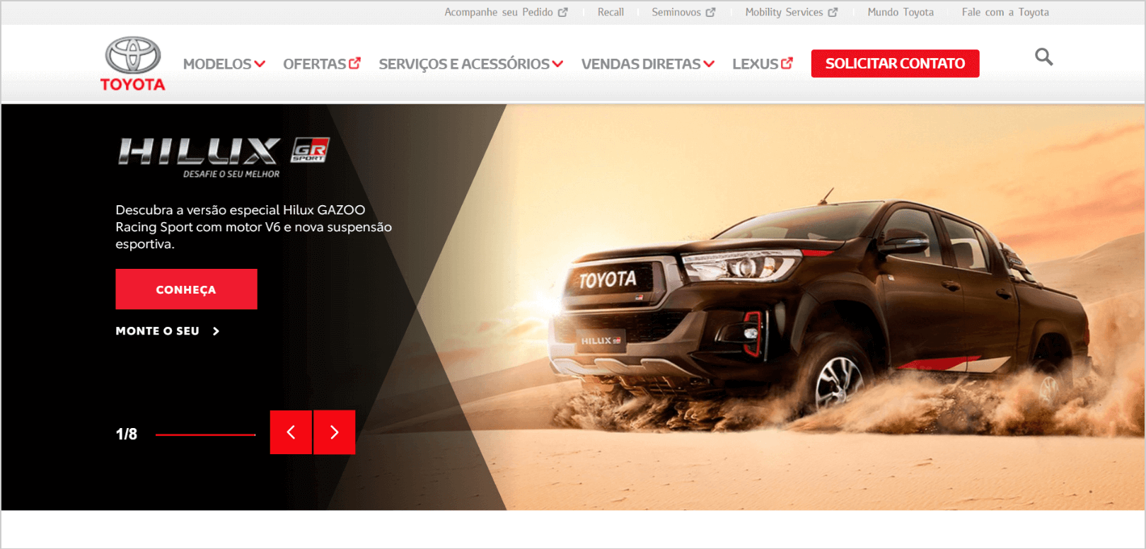 Toyota Brazil desktop WordPress website layout