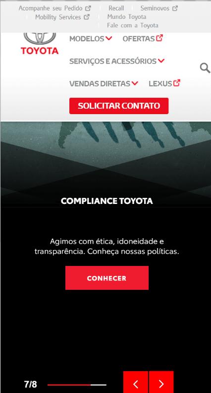Toyota Brazil not optimized mobile WordPress layout