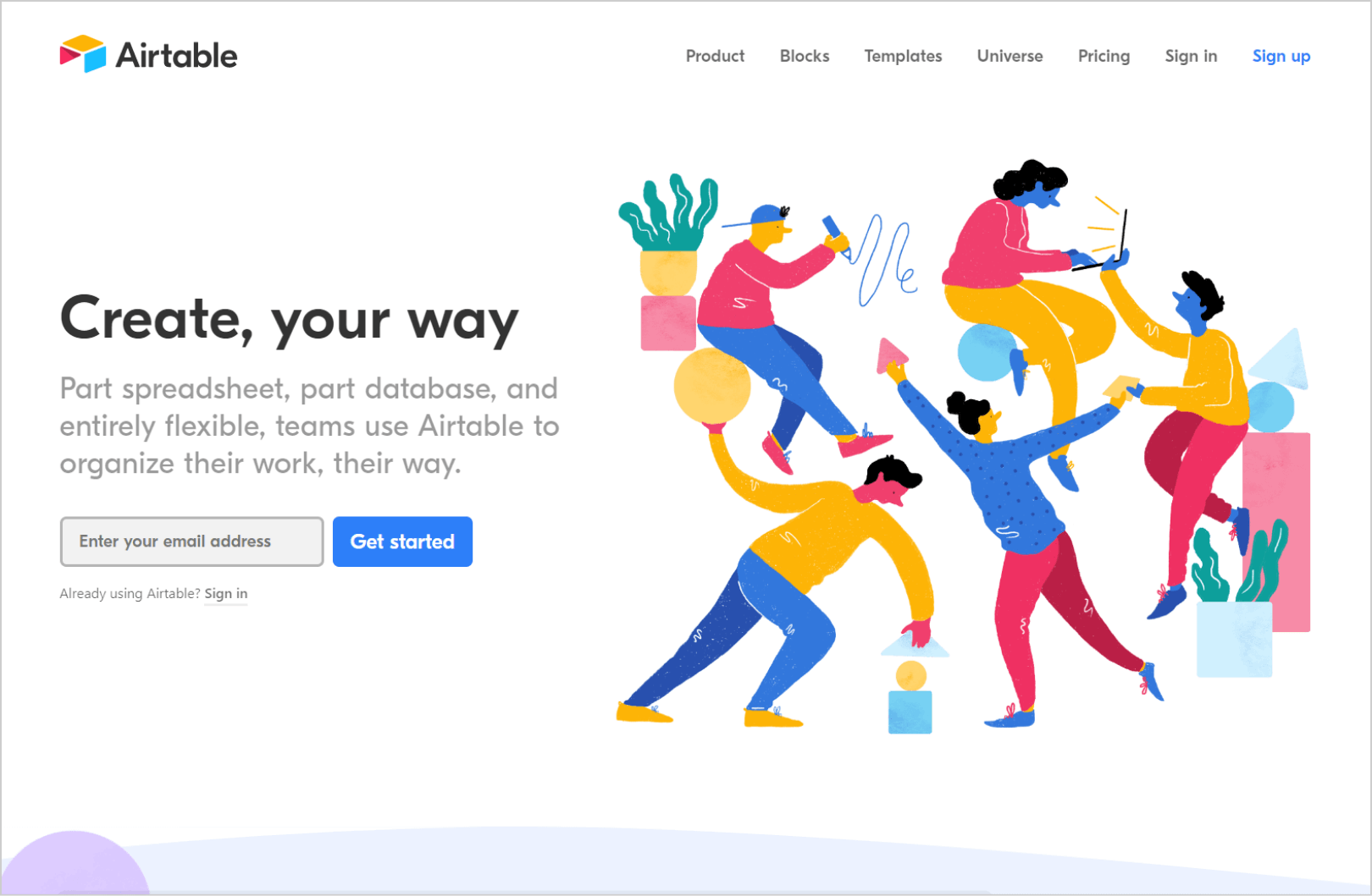AirTable homepage