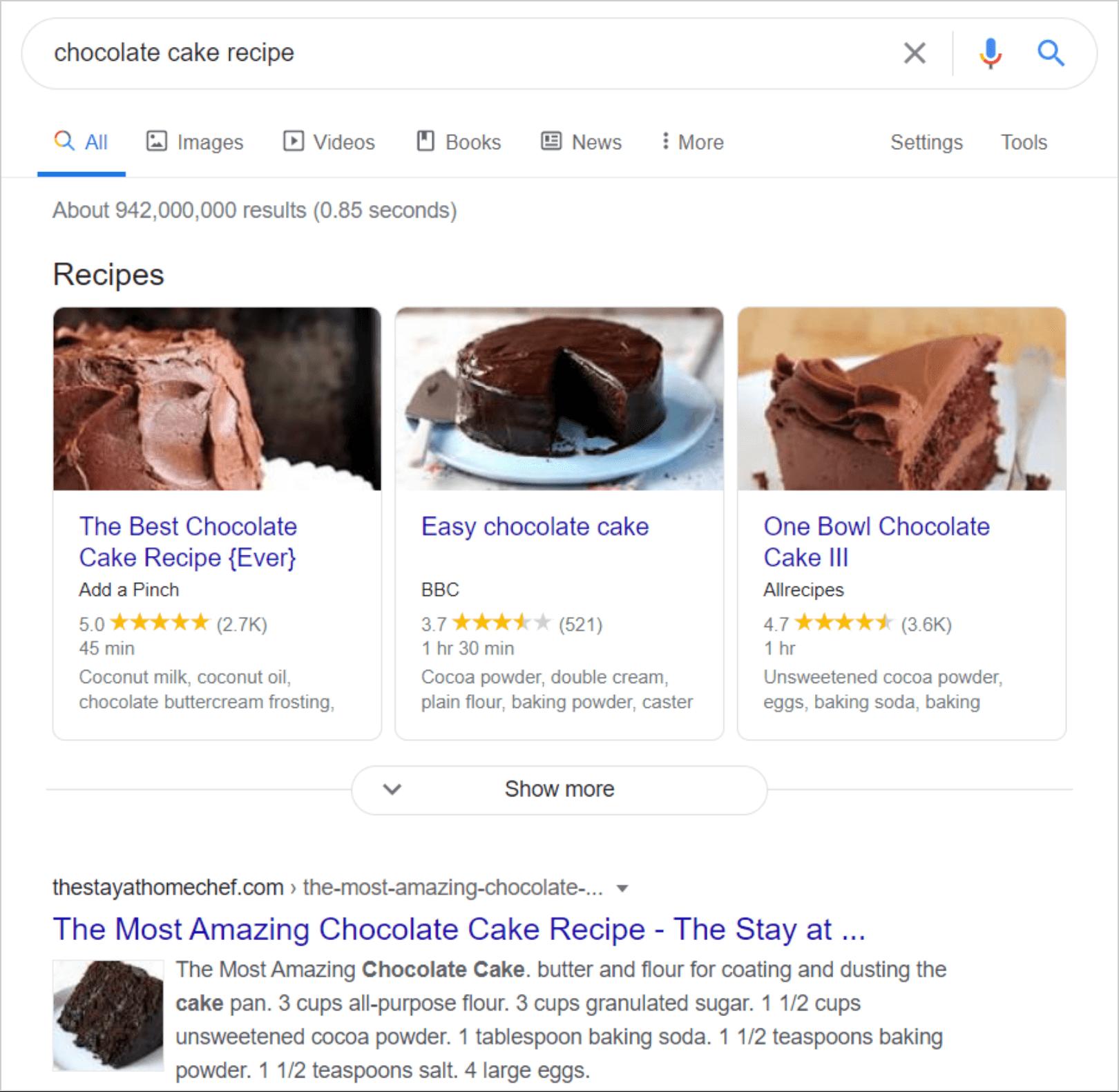 Chocolate cake recipe search results