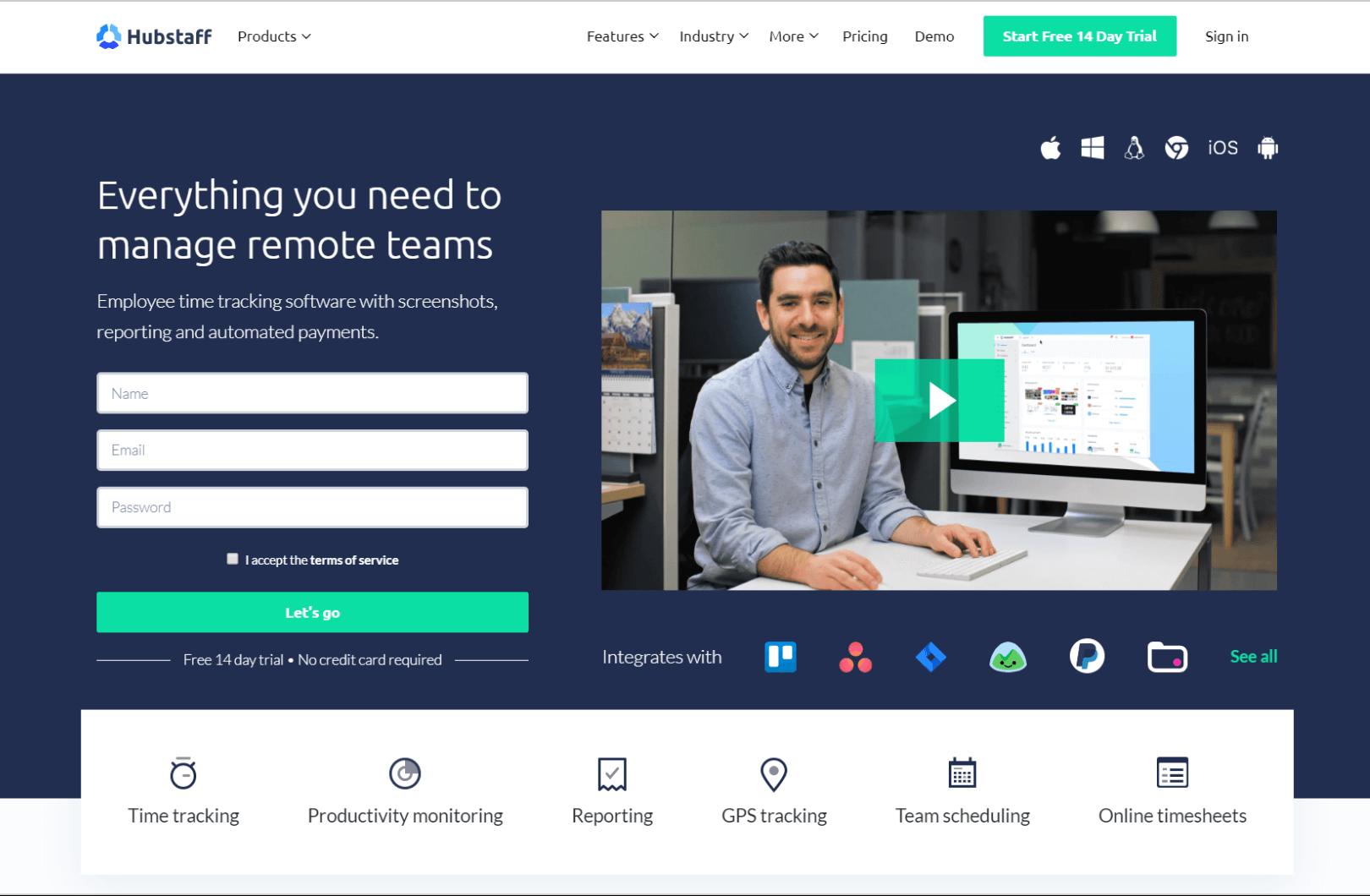 Hubstaff homepage