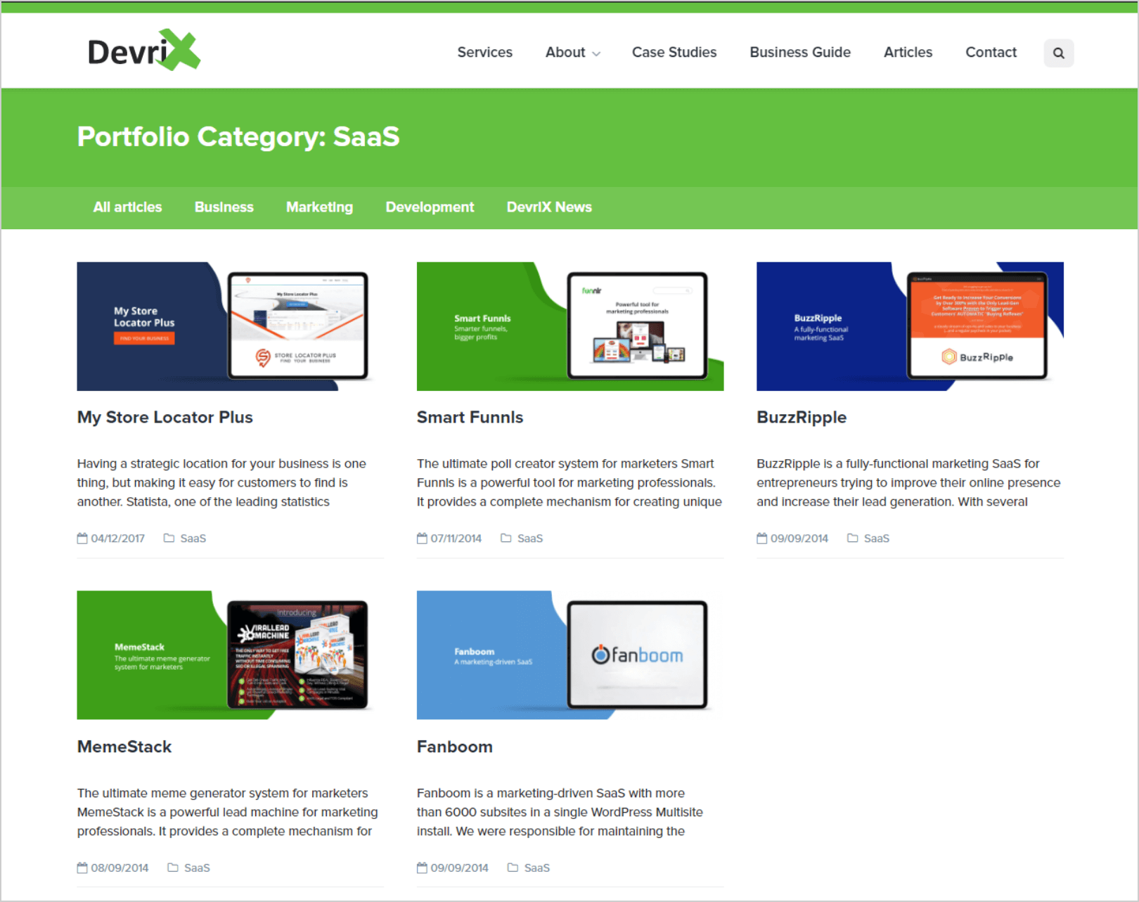 devriX portfolio SaaS industry category