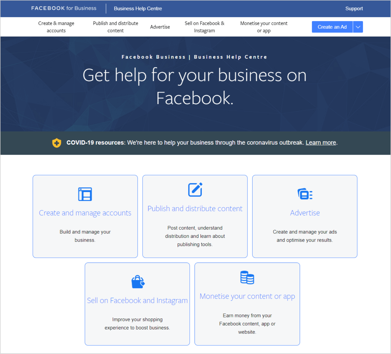 facebook business help center