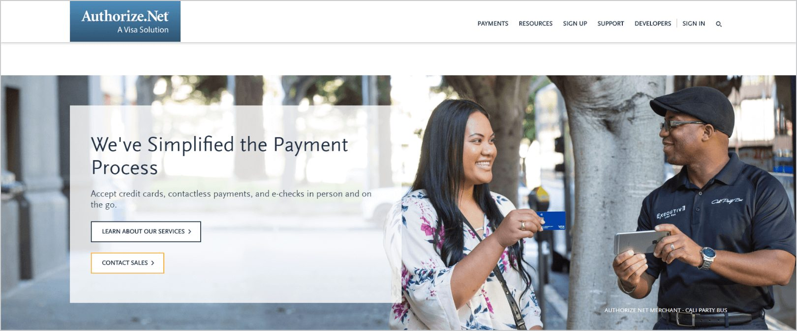 Authorize Net home page