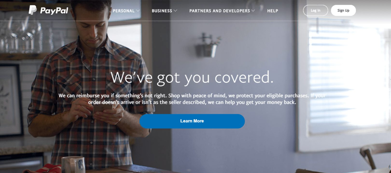 PayPal Hope page screen