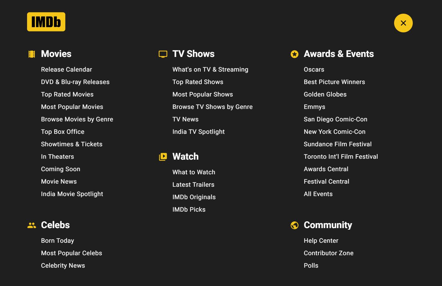 IMDB.com website structure