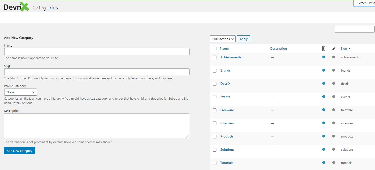 Post Categories on DevriX site