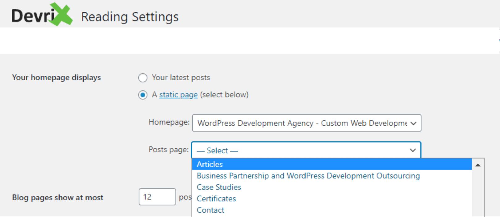 WordPress admin panel reading setting