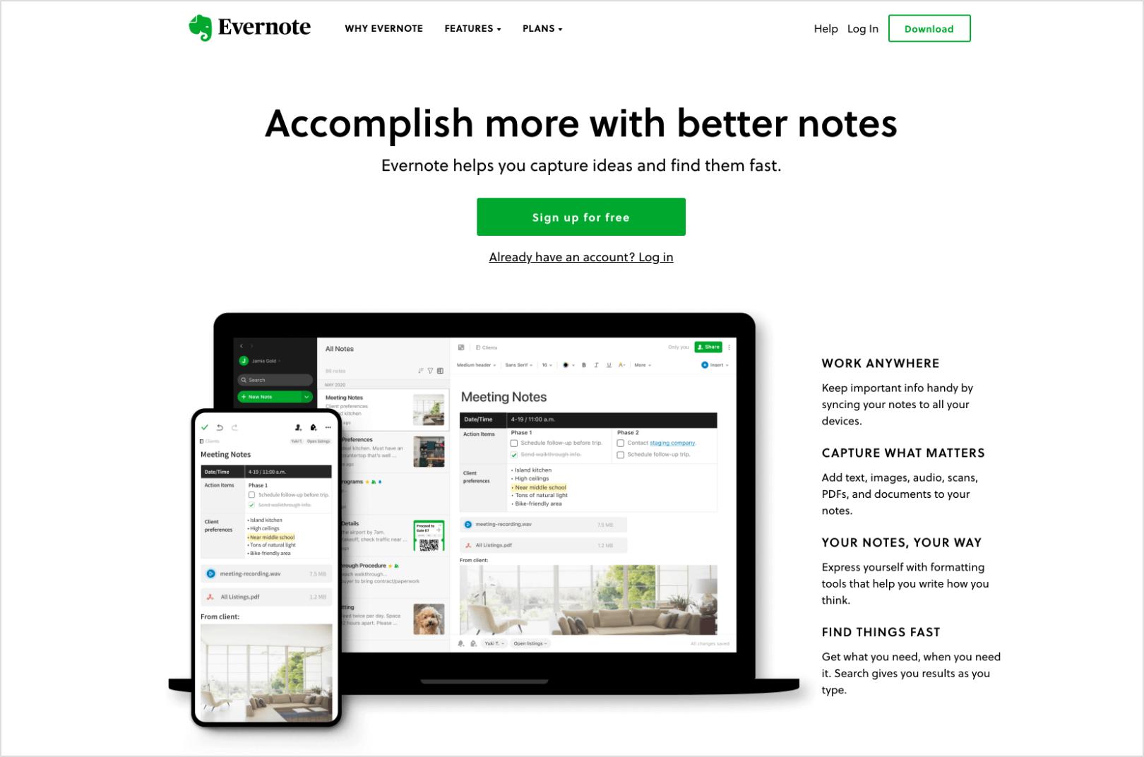 Evernote Home Page Screenshot