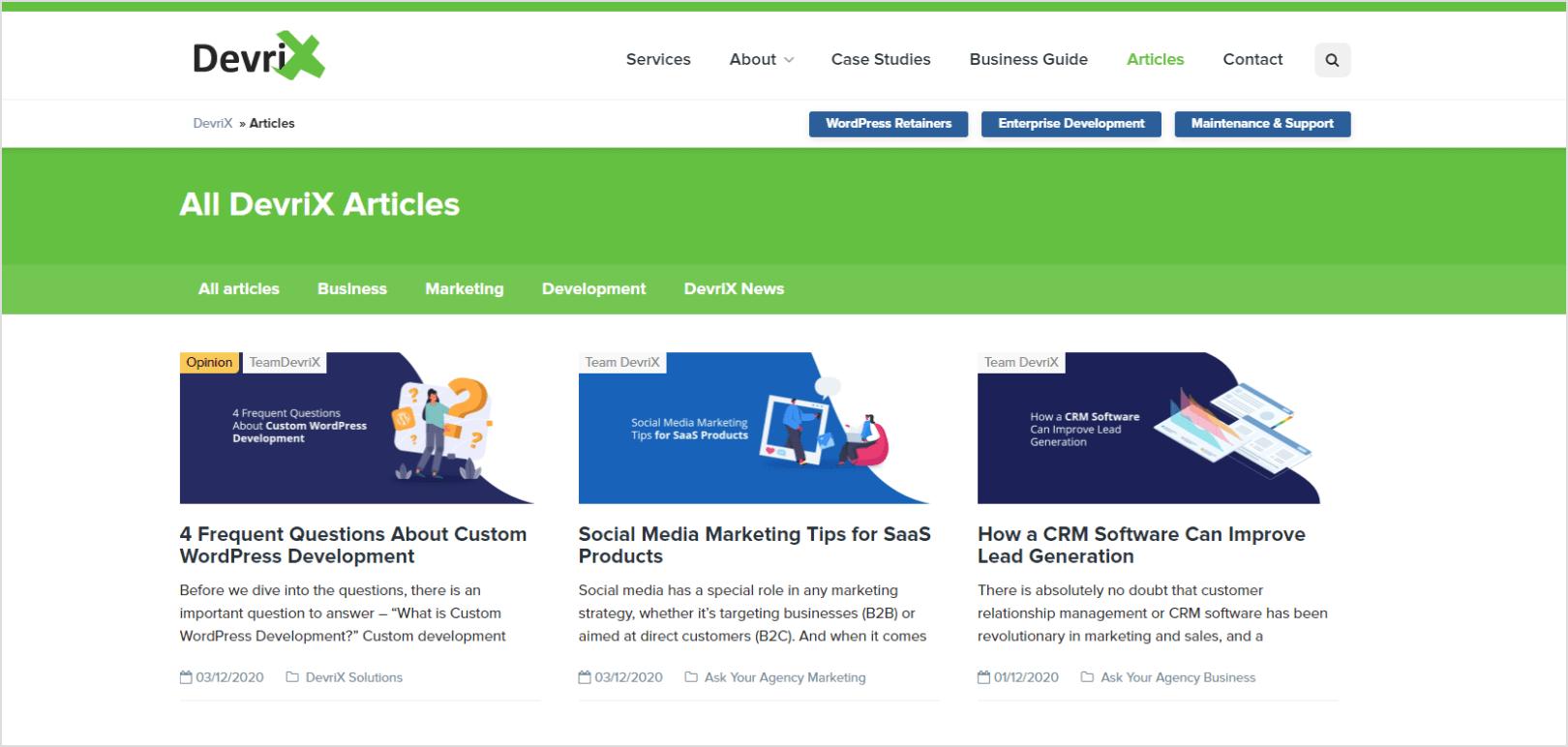 DevriX articles page screenshot