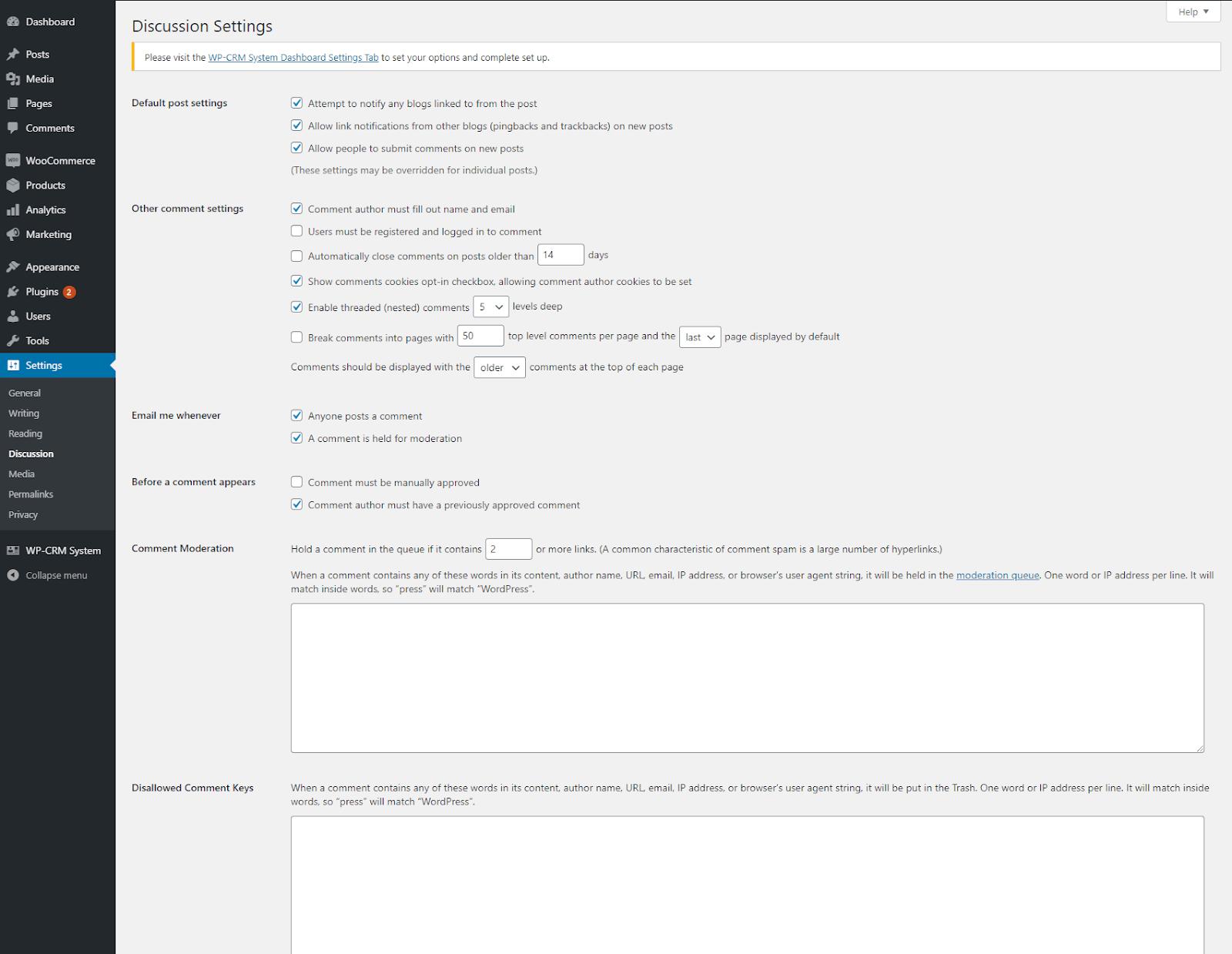discussion settings wordpress