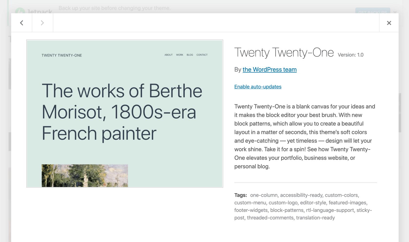 twenty twenty-one theme wordpress