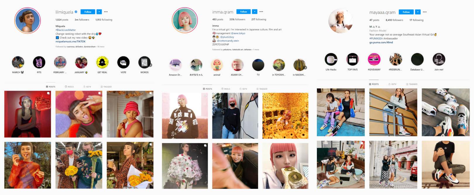 Instagram virtual profiles