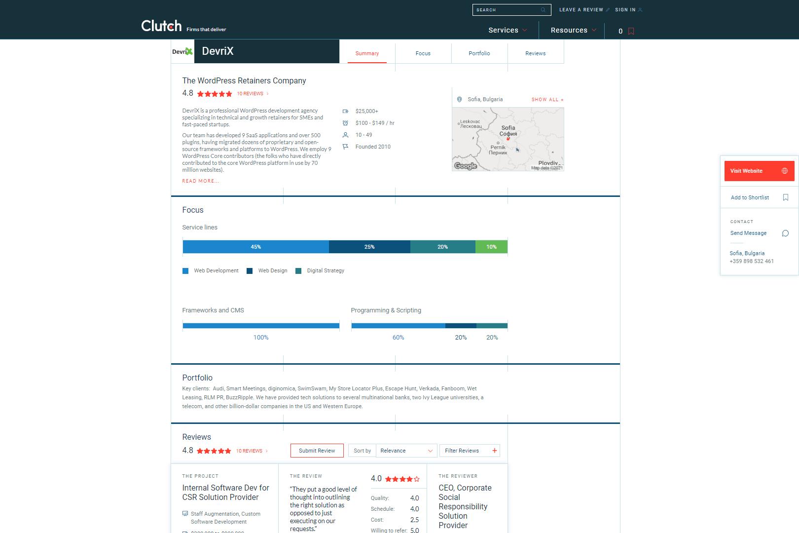 Clutch DevriX profile 2021
