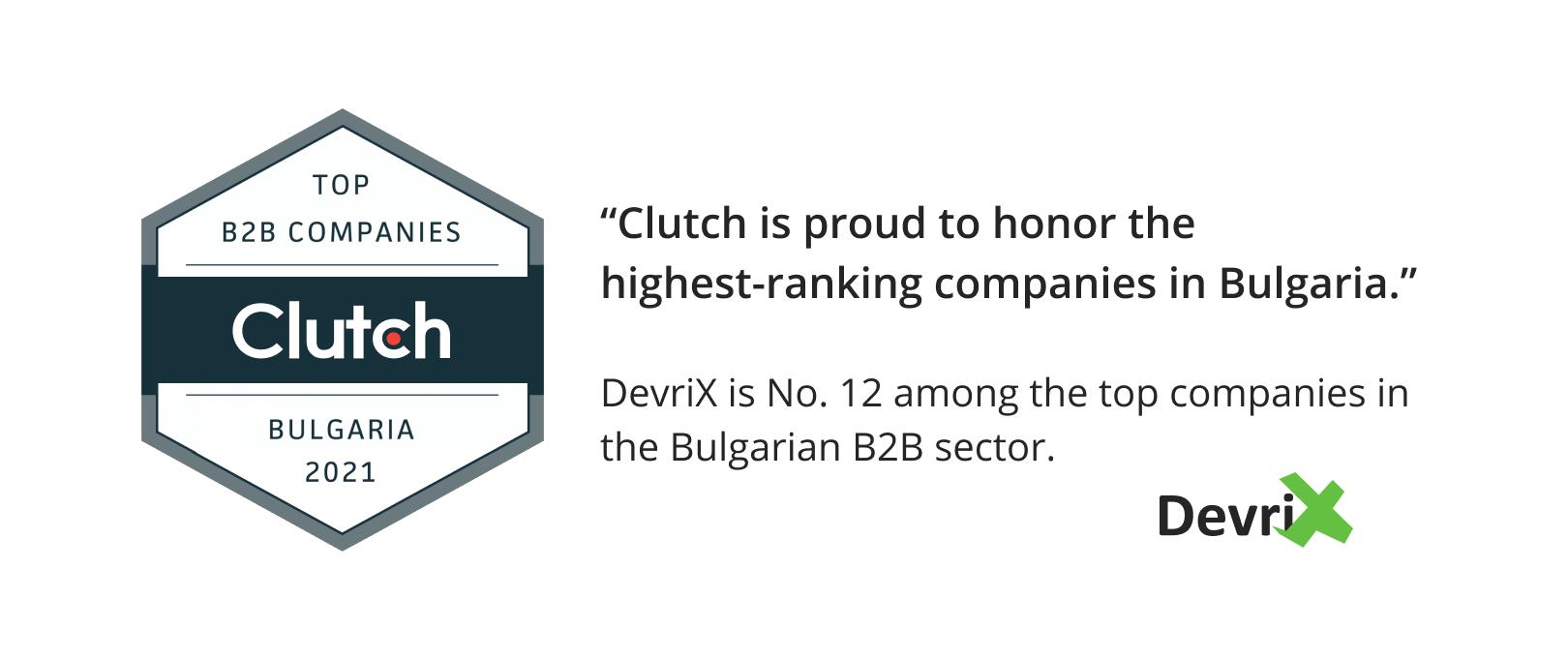 Clutch is proud Top B2B companies in Bulgaria by Clutch
