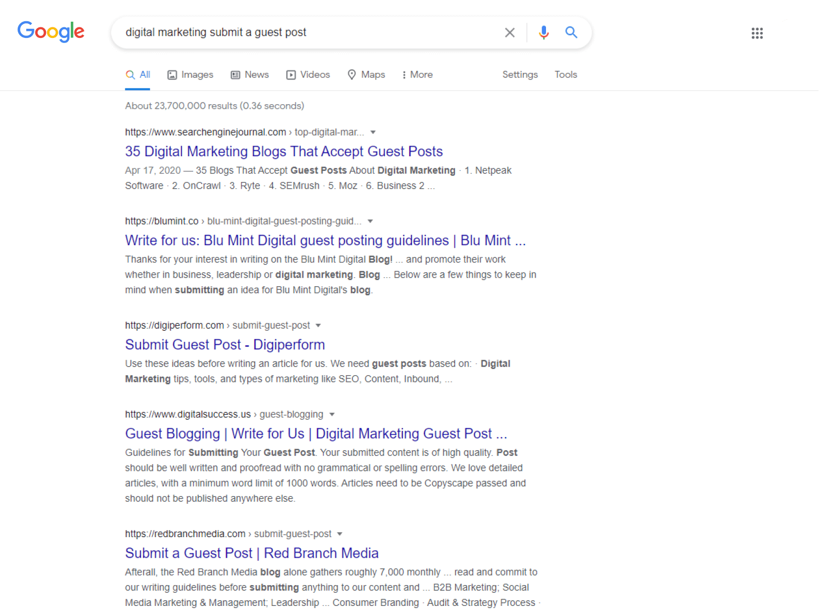 submit guest post google results