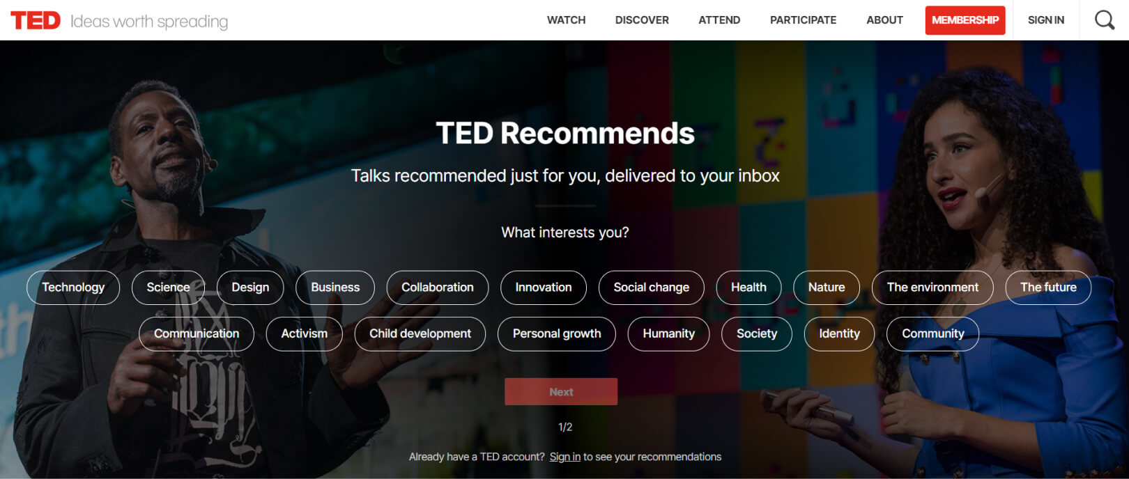 Ted homepage